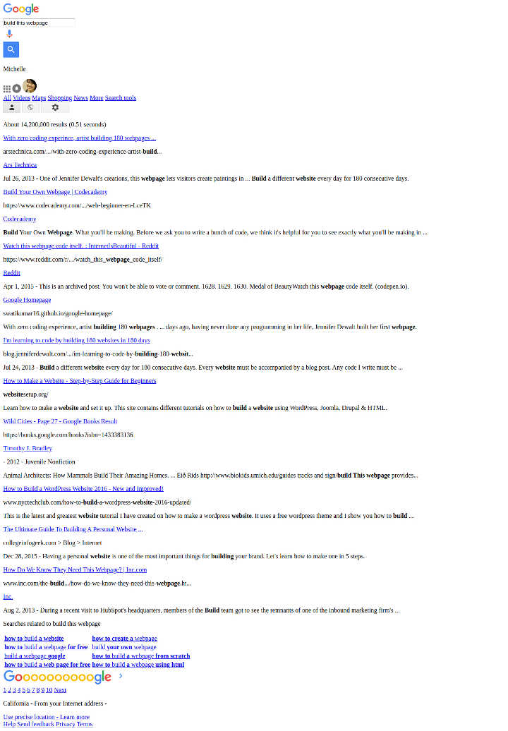 full screenshot image of HTML version google search result