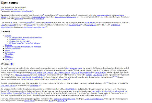 partial screenshot of a html-only version of wikipedia page