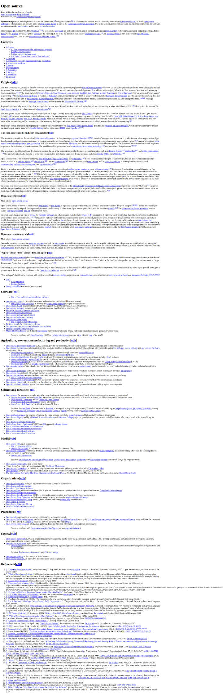 full page screenshot of a html-only version of wikipedia page