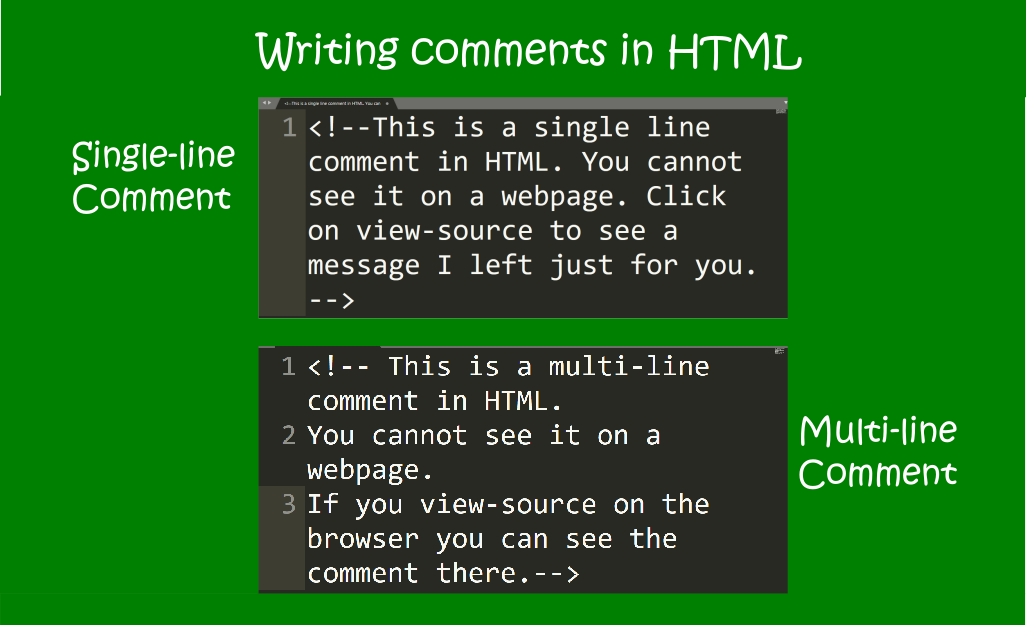 image showing single-line and multiline comments in HTML